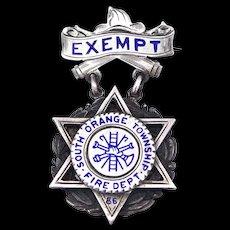 1886 Sterling S. Orange Twp., NJ Fire Department Exempt Badge