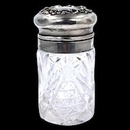 Mauser Manuf. Co. Sterling Lid Crystal Powder Jar Circa 1890's
