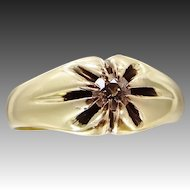 14k Gold 1/4 Carat Solitaire Diamond Victorian Gypsy Ring Size 7 3/4