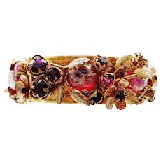 Miriam Haskell Hinged Bangle Bracelet With Dragon's Breath Cabochons & Grosgrain Lining