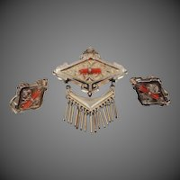 Edwardian Gold Fld. Coral Brooch & Matching Earrings