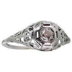 14k White Gold Art Deco Filigree Diamond Ring