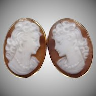 14k Gold Carved Shell Pierced Cameo Earrings