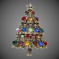 Hollycraft Multi Color Christmas Tree Pin