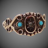 Victorian 10k Gold Turquoise & Seed Pearl Ladies Size 8 1/2 Ring