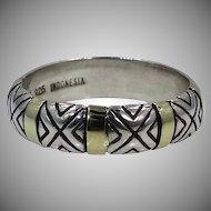 14k Gold & Sterling Designer Signed Ladies Size 8 Ring