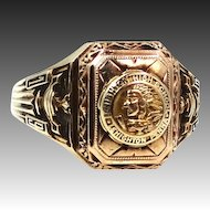 10k 1950 Lehighton High School Ring Indian Chief on Front