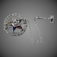 14k White Gold 1/4 Carat Diamond & Gemstones Eastern Star Pin w/Orig. Box