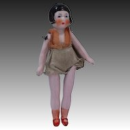 "1920's 5 Piece 3"" Bisque Flapper Doll in Swim Suit"