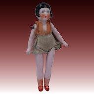 "1920's 5 Piece 3"" Bisque Flapper Doll in Swim Suit"