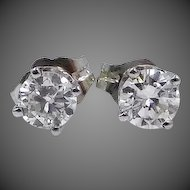 14k White Gold 0.60 Carat Diamond Earrings