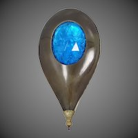 Large Foiled Art Glass Celluloid 1920's Hat Pin