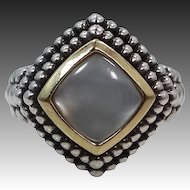14k & Sterling Mother of Pearl Ladies Size 8 1/4 Ring