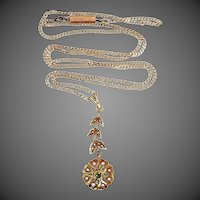 14k Rose Gold Green Garnet & Seed Pearls Victorian Lavaliere w/Original Chain