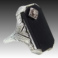 18k White Gold Filigree Onyx & Diamond Ladies Ring