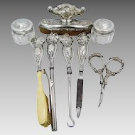 Art Nouveau Matching Sterling Silver 8 Piece Vanity Set