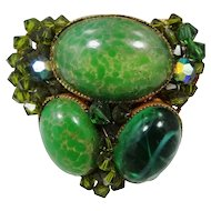 1950's Art Glass & Peking Glass Brass Brooch