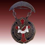 1890's Wyoming Valley, PA Masonic Knight's Templar Enamel Badge