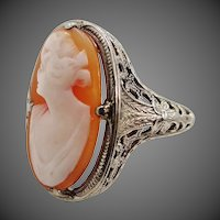 14k White Gold Filigree Cameo Art Deco Ring