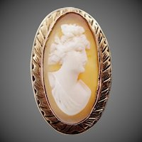 Victorian 14k Gold Carved Cameo Ring Size 8
