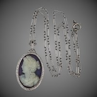 Art Deco 14k White Gold Filigree Sardonyx Chalcedony Cameo Necklace