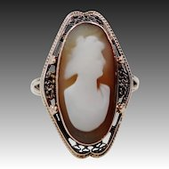 10k Gold Victorian Filigree Cameo Ring