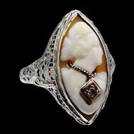 "14k Filigree White Gold Habille Cameo Ring ""Diamond Necklace"""