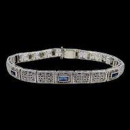 10k Gold Art Deco Filigree Sapphire Bracelet