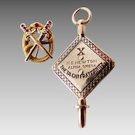 1931 Gold Lafayette College Theta Chi Fraternity Pin & Key Alpha Omega Chapter