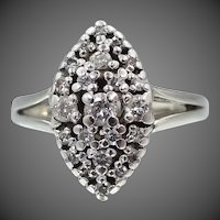 Ladies 14k White Gold & Diamonds Art Deco Ring