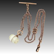 Victorian Rose GF Seed Pearls Slide Watch Chain With Stanhope Camphor Glass Fob