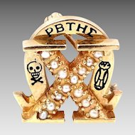 10k Chi Omega Seed Pearls Fraternity Pin Penn State Nu Gamma Penn Chapter
