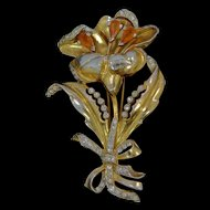 1930's Large Rhinestone Flower Fur Clip