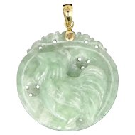"""14k Gold & Carved Green Jade """"Year of the Rooster"""" Pendant"""
