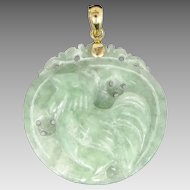 "14k Gold & Carved Green Jade ""Year of the Rooster"" Pendant"