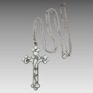 1920's Sterling & Enamel Cross & Chain