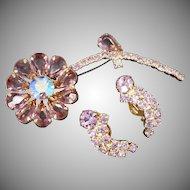 Pretty 1950's Lavender Rhinestone Figural Flower Brooch & Earrings