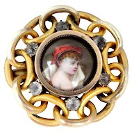 Victorian Hand Painted Porcelain Portrait Pin