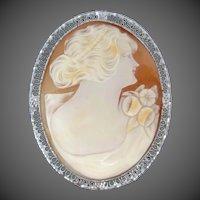 Rhodium Filigree Carved Shell Cameo Pin / Pendant Art Deco