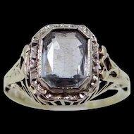 Art Deco 14k Yellow & White Gold Filigree Aquamarine Ring