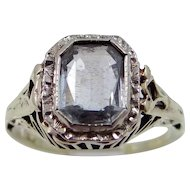 Art Deco 14k Yellow & White Gold Filigree Aquamarine Ring