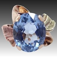 Retro 10k Tri-Color Gold Ribbon Style Blue Topaz Ring