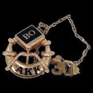 10k Gold 1930 Alpha Kappa Kappa Fraternity Pin BO Chapter
