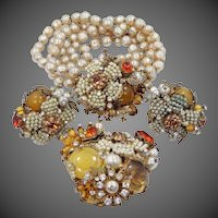 Vendome Parure Rose Montees, Faux Seed Pearls, Baroque Pearls & Multi Colored Glass Beads