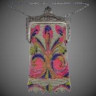 Whiting & Davis Beadlite Mesh Purse Bright & Colorful Nice Condition
