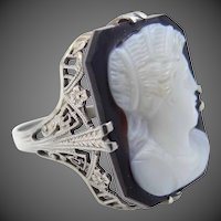 1920's 18k White Gold Filigree Hardstone Cameo Ring