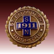 10k Gold St. Elizabeth's Hospital School of Nursing Pin 1957