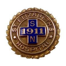 10k Gold St. Elizabeth's Hospital School of Nursing Pin 1957