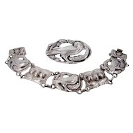 Sterling Doves Bracelet & Matching Brooch Skonvirke Arts & Crafts Movement