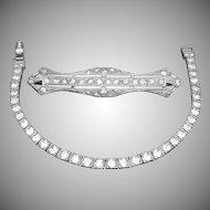 Otis Sterling Silver Crystals Filigree Bracelet & Matching Brooch